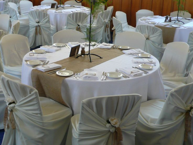 Cream Tie knotted covers, with Hessian ribbon & rose