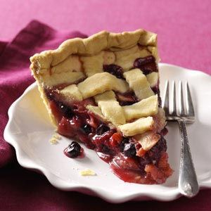 Berry-Apple-Rhubarb Pie |  resh rhubarb is now in season, making this especially tender and tasteful. I make pies every season using a combination of the organic berries and fruits I grow and freeze. Always a hit!  —pvoth, Taste of Home Community