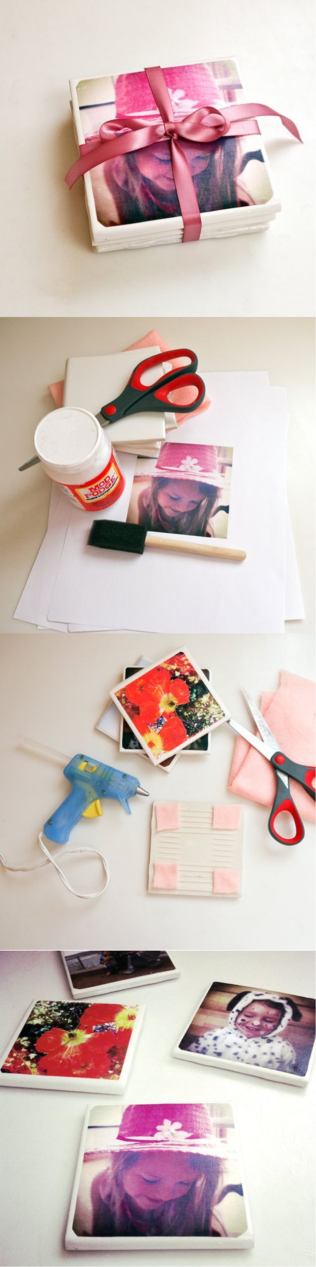DIY Tile Photo Coasters   Thoughtful Personalized DIY Project for Mother's Day by DIY Ready at http://diyready.com/diy-gifts-mothers-day-ideas/