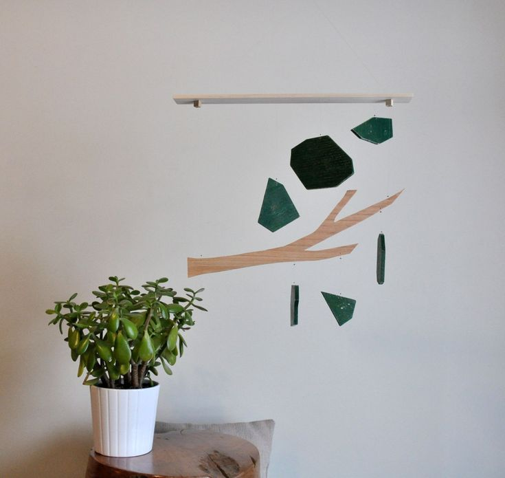 Annex Suspended Mobile - Tree Branch - Keep Strong - Wood Mobile Art - made in Canada.