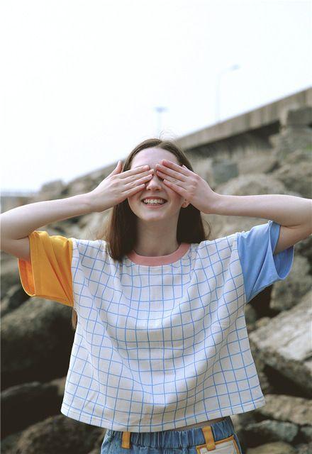 2016 Zomer nieuwe Koreaanse Vrouwen korte mouwen T-shirt leuke plaid ban kleur ulzzang Harajuku stijl t-shirts meisjes tee tops