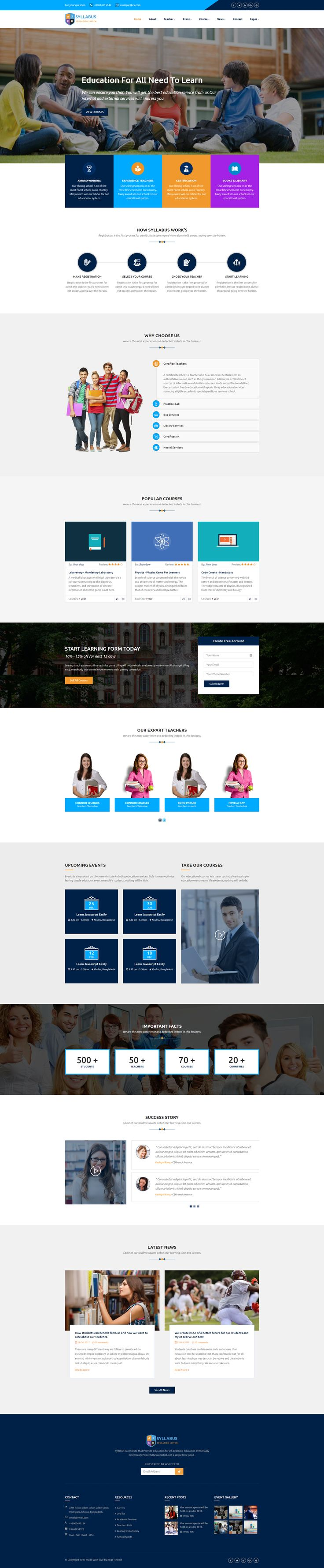 Syllabus is a Education Course HTML5 Template with predefined web elements which helps you to build your own site.This template is suitable for Education Course Learning Management System website.Syllabus template has a fully responsive layout. It fits perfectly on various displays and resolutions from regular desktop screens to tablets, iPads, iPhones and small mobile devices.This template is built with Bootstrap 3.