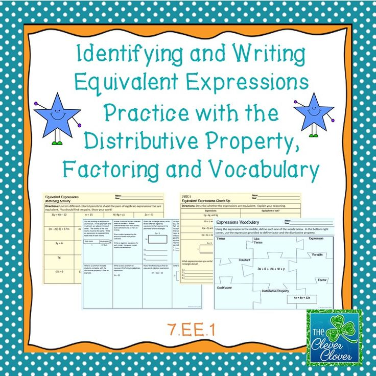 This product includes four resources for equivalent expressions. Students are asked to determine equivalent expressions, apply the distributive property and to provide the perimeter of shapes given an expression side length.  The first activity asks students to determine ten pairs of equivalent expressions.  Each pair is colored a different color.  The second resource is an eight question worksheet addressing the distributive property, factoring and modeling.
