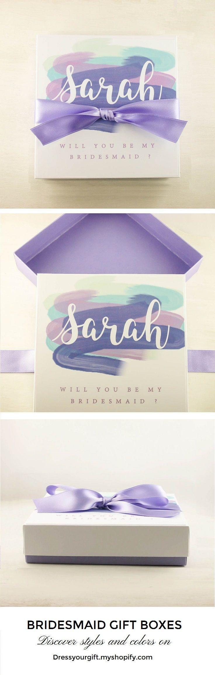 Purple satin ribbon decorated bridesmaid gift box with lid Dama de Honor quieres ser mi #demoiselledhonneur Trauzeugin Geschenk #brautjungfern