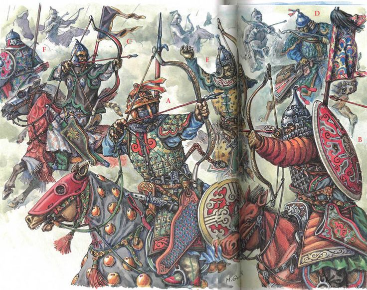 Turco-Mongol horse archers 13th/14th c. - art by M. Gorelik