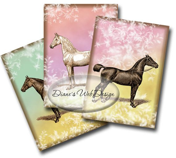 Horses Gift Tags ACEO digital collage sheet Instant Download by dianeswebdesign, $4.99