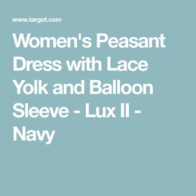 Women's Peasant Dress with Lace Yolk and Balloon Sleeve - Lux II - Navy