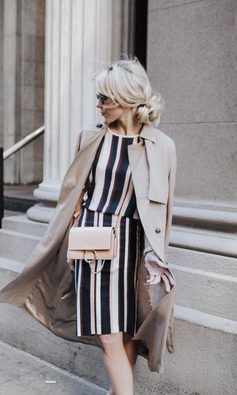 Navy stripe + khaki.