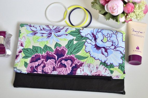 Statement bag Flowers folding clutch Faux leather and fabric
