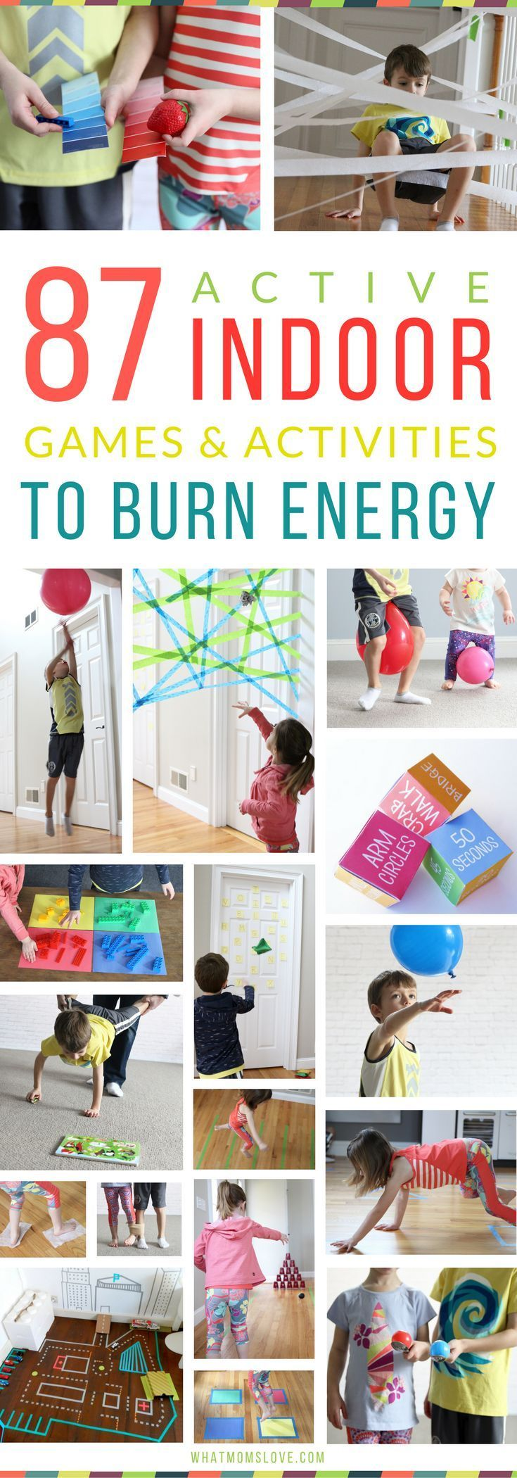Best Active Indoor Activities For Kids | Fun Gross Motor Games and Creative Ideas For Winter (snow days!), Spring (rainy days!) or for when Cabin Fever strikes | Awesome Boredom Busters and Brain Breaks for high energy Toddlers, Preschool and beyond - see the full list at http://whatmomslove.com