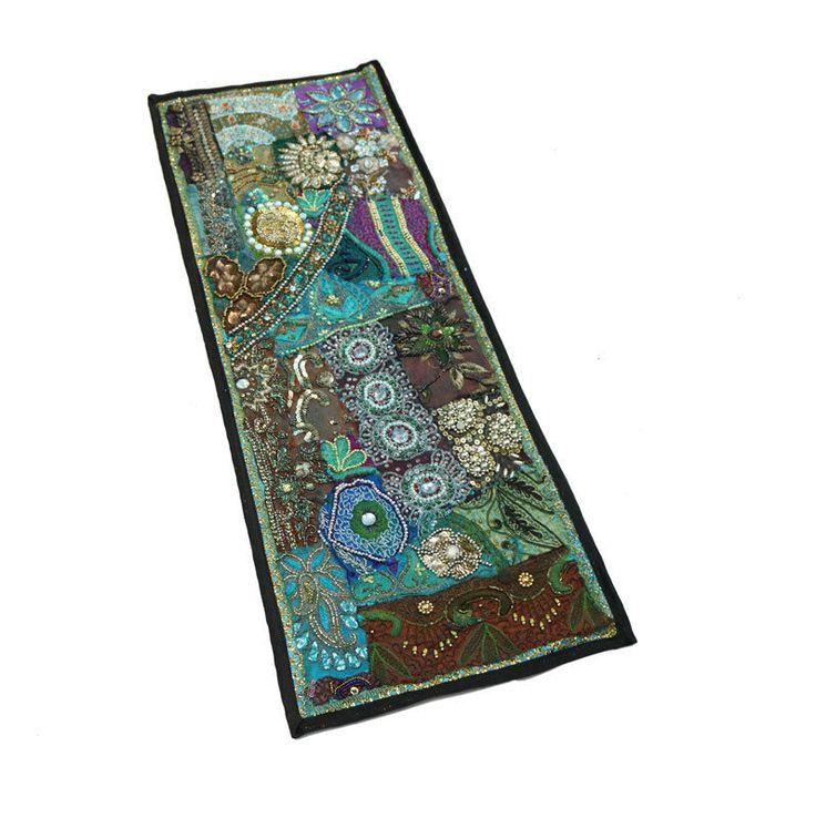 "30X10"" Indian Kundan Unique Design Silk Home Decor Antique & Patchwork Tapestry  #Namasteart #AntiqueStyle"