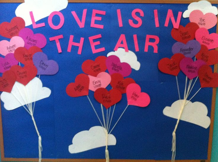 February bulletin board - kids color white hearts with red, pink, and purple crayons?