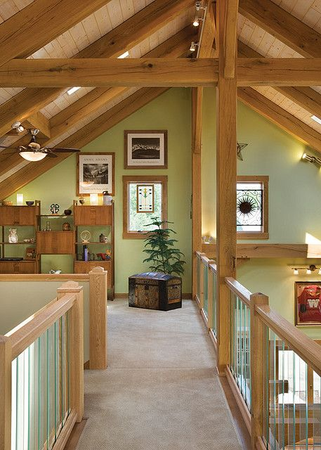 the melody lane timber frame home loft by riverbend timber framing via flickr