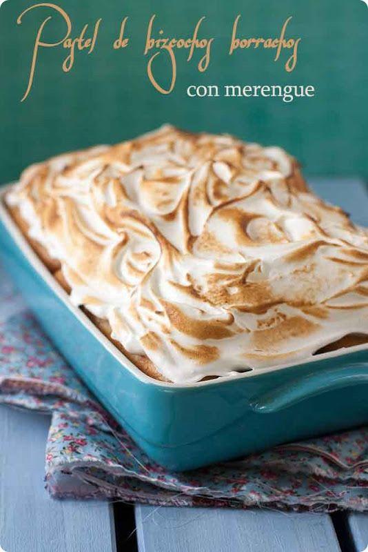 Pastel de bizcochos borrachos con merengue