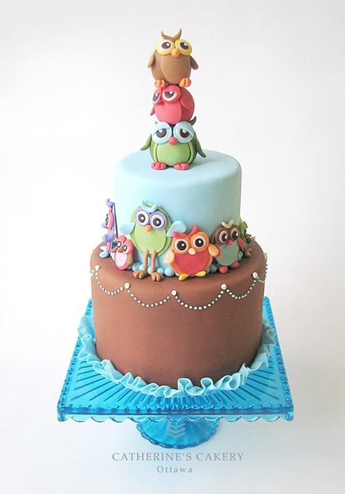 Owl cake would love this in bright colours!!