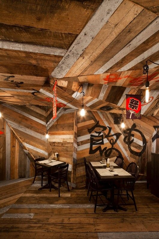 """""""For its latest Kinoya, interior designer Jean de Lessard has tapped into the sources to emulate in his design the primary spirit, function and aesthetics of the izakaya, as the latter was originally an informal place where people drank beer and sake."""" © Adrien Williams 