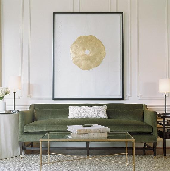Pretty Gold Metallic Damask Wallpaper Art Panels Gorgeous Green Living Room Design With Apple Velvet Sofa Matching