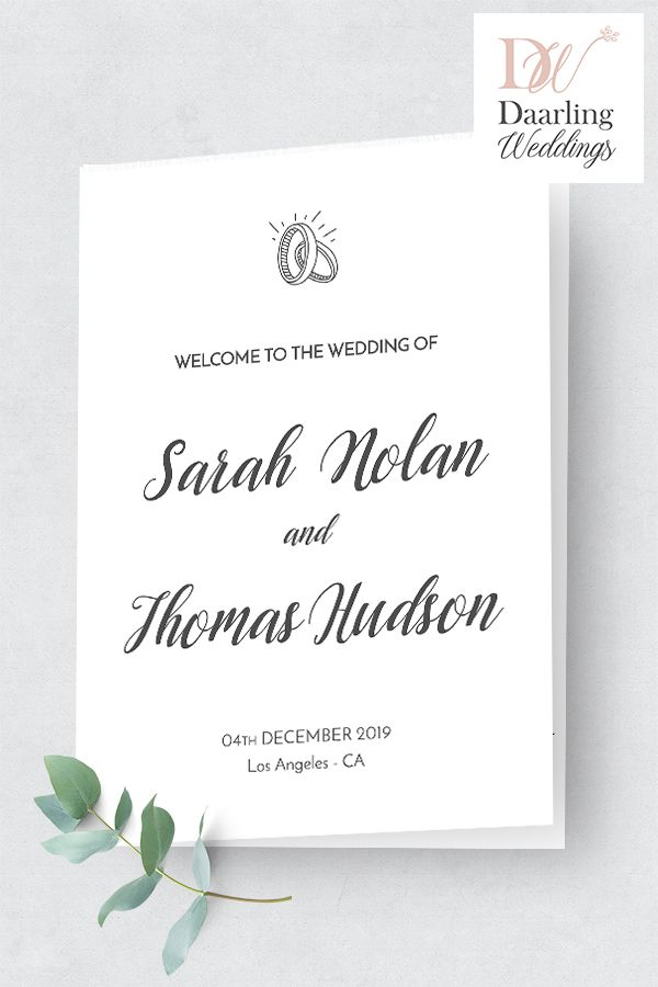 Wedding Program Booklet Order Of Ceremony Template Folded Church Program A4 And Us Letter Corjl Editable Printable Custom Program F6 In 2020 Wedding Programs Wedding Programs Template Simple Weddings