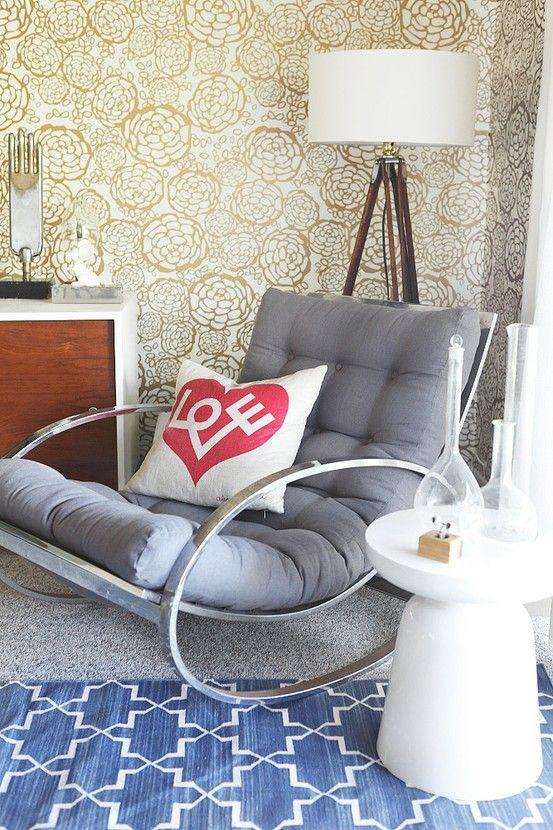 I fricking LOVE this Chrome Rocking Chair by milo baughman - stylebyemilyhenderson.com