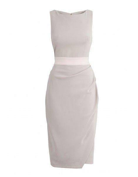 Closet Contrast Waist Midi Dress