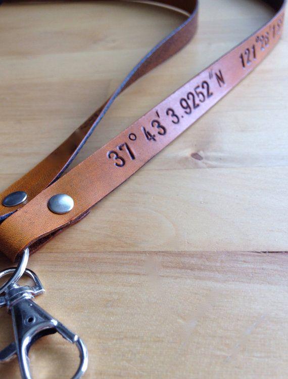 Leather Longitude Latitude Lanyard Badge by LoveThatLeather