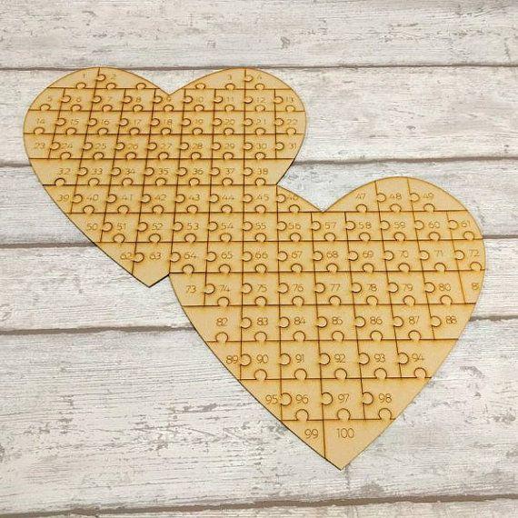 Hart bruiloft-gastenboek houten dubbele hart door ForgetMeKnotWed