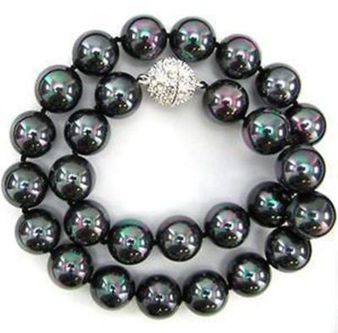 Мода ювелирные изделия 10 мм черный юг морские раковины жемчужное ожерелье жемчуг ювелирные изделия веревка цепи ожерелье жемчуг бусины природный камень 18 дюймов
