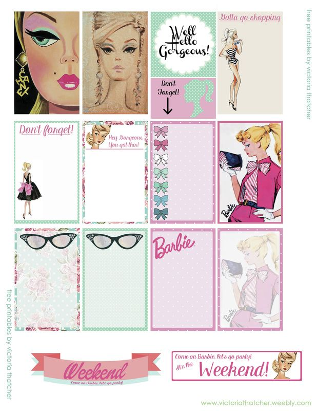 Free Printable Barbie Planner Stickers from Victoria Thatcher