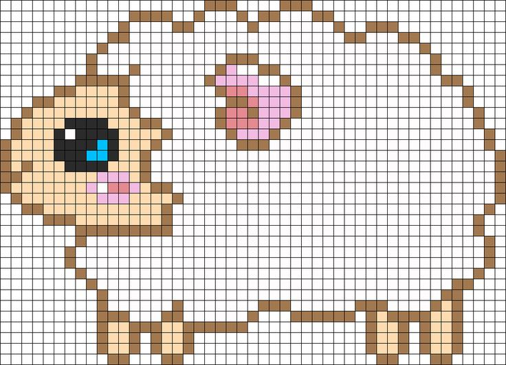 Sheep Perler Bead Pattern / Bead Sprite