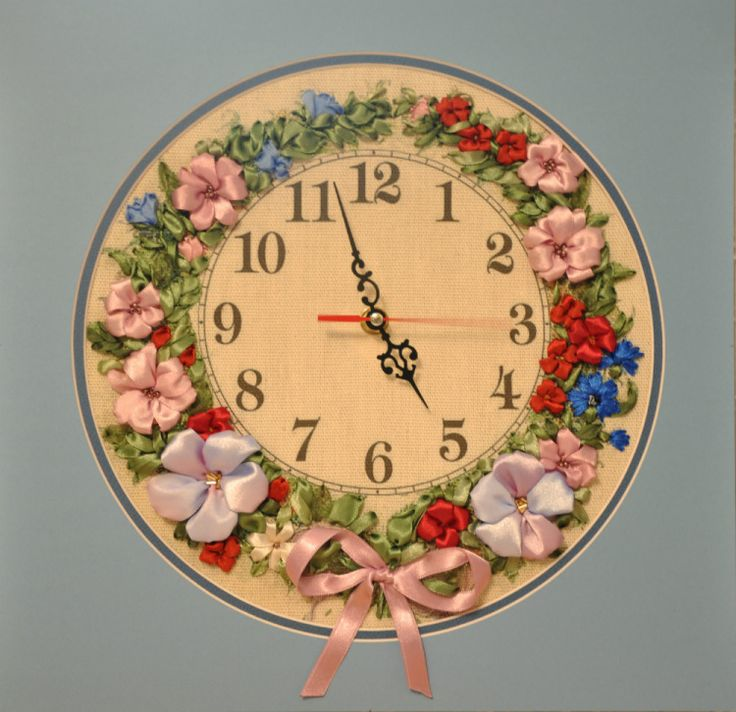 How unique is this!? A ribbon embroidered clock! -Gallery.ru / Фото #7 - Моя вышивка лентами - midnight-rose