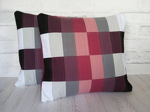 Handmade Quilted Cushion Cover Patchwork Pillow Case 40x45cm