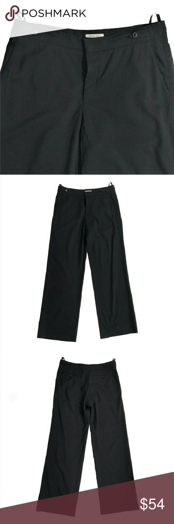 """Helmut Lang women's pants black wool trousers In Flawless condition, classic cut trousers with a button fly and 4 Pockets. Straight wide cut legs and button tabs at waist. I just haven't been like to show detail is there a dark black and appeared to be new. Made of the medium to lightweight 98% wool 2% elastane. Waste - 34. Hips (7 inches down from waist) - 42. Rise - 10.5. Inseam -35. And an extra 1.5"""" of material to lengthen if necessary. Helmut Lang Pants"""