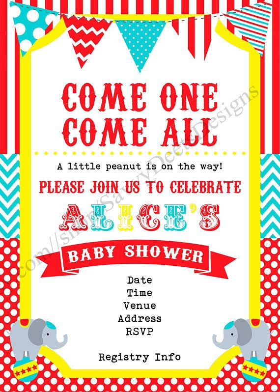 Circus Baby Shower Invitation Little Peanut On The Way Circus