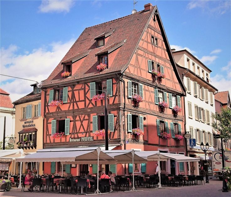 Wonderful houses and architecture of Colmar, Alsace, France.
