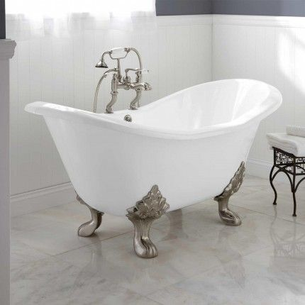 Source for everything, from tubs to kitchen range hoods & farmhouse sinks to shower and curtain rods. Good place to start pricing items. This acrylic tub approx. $1400, plus faucet, drain, etc. Say one for $699, another $3,500 (hammered nickel lined w/copper...gorgeous!! You could easily design the entire room around it).  ~~also cedar closet organizers, easy to copy, DIY