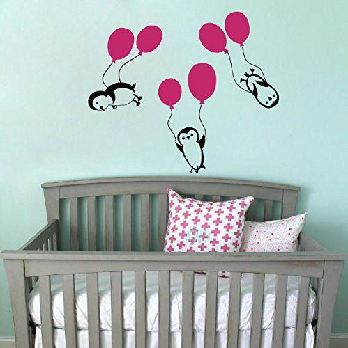 Wandtattoo - Wandtattoo Penguin Penguine Balloon Sticker M173 - ein Designerstück von DecalStoreVienna bei DaWanda
