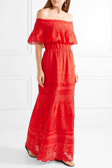 Alice + Olivia   Pansy off-the-shoulder embroidered cotton maxi dress   NET-A-PORTER.COM