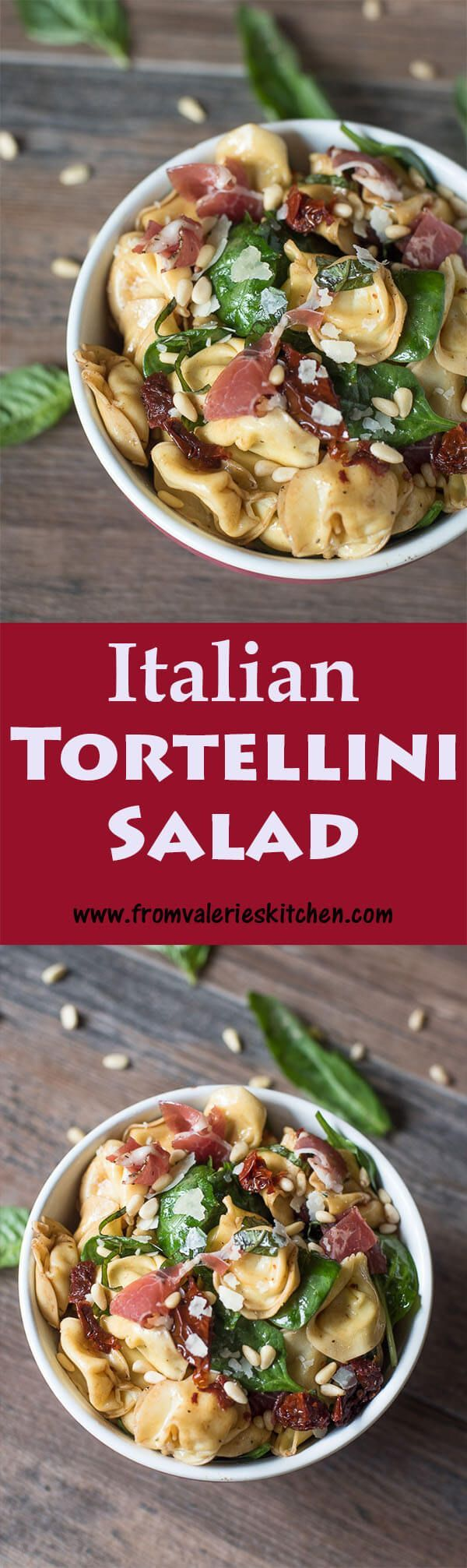 This rustic, colorful Italian Tortellini Salad is packed full of irresistible flavor. It is sure to be a hit at your next gathering! ~ http://www.fromvalerieskitchen.com