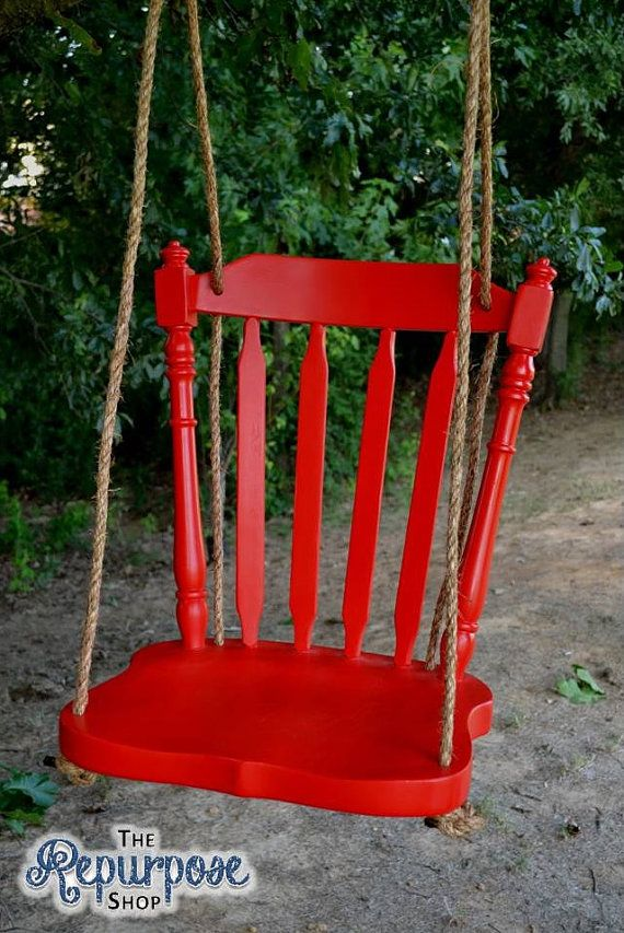 A beautiful swing created from a repurposed wooden chair makes a unique statement hanging from a porch or a tree! After the legs are removed,