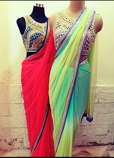 Sarees & Blouses by Arpita Mehta http://arpitamehta.in/ Love the fancy detailed blouses!