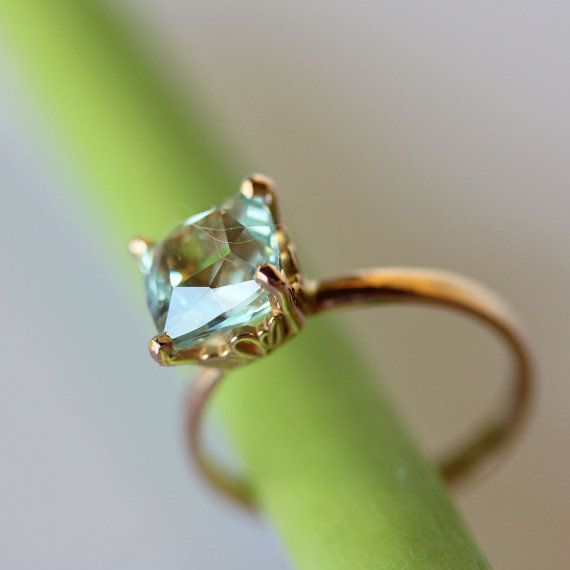 Aquamarine RIng In 14K Rose Gold Ring  Ready To by louisagallery, $350.00