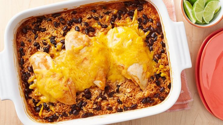 Cheesy Southwest Chicken and Rice Casserole - No chopping, no fuss, just a delicious Dump Dinner.
