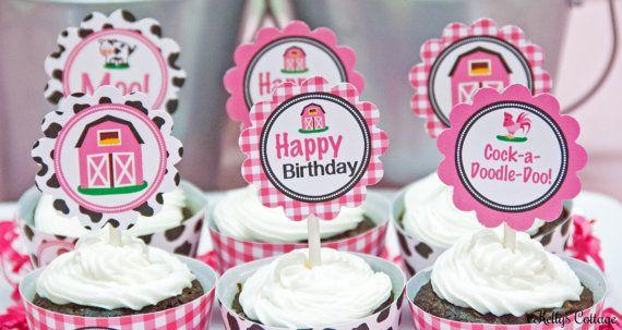 Barnyard Birthday Party 2 Inch Party by KellysCottageShoppe, $3.50