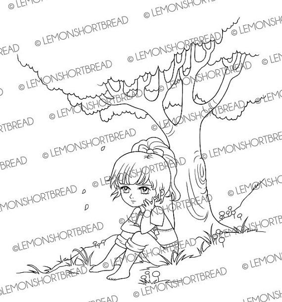 Hello Kitty Summer Coloring Page Girl Sitting Under Tree Digital Stamp Digi PNG Nature Country