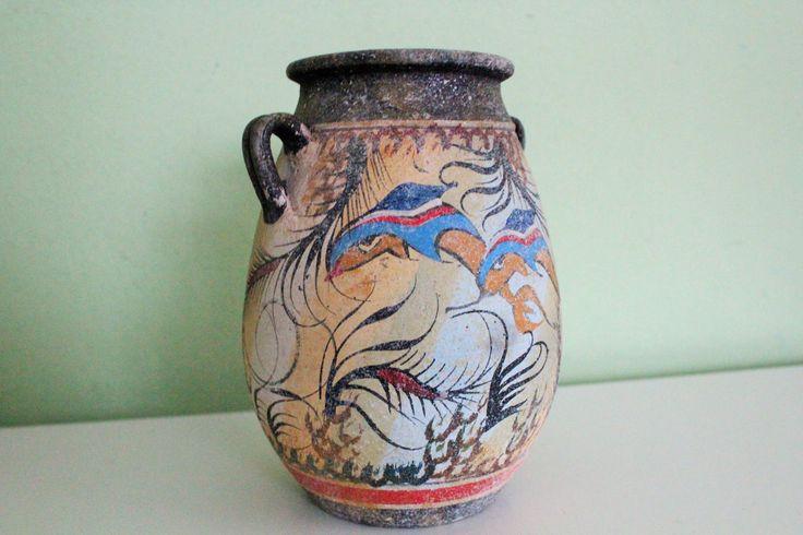 Antique Greek Pottery Ceramic Museum Copy Vase Minoan Dolphin Greece Hand Made Vintage Vase Of Minoan Time by Grandchildattic on Etsy