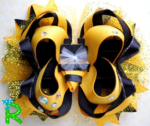 Bee hair bow  boutique hair bow for girls  by RoshelysBowtique