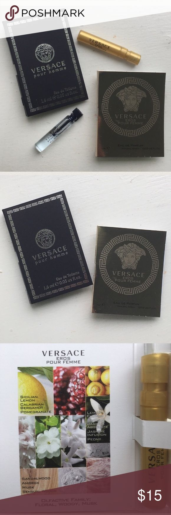 🆕🤴🏻👸🏻NEW🤴🏻👸🏻Versace His+Hers 2Pc Travel 🆕🤴🏻👸🏻NEW🤴🏻👸🏻Versace His+Hers 2Pc Travel Sz Set. Versace Pour Homme for Him. Versace Eros Pour Femme for Her. Both Are Atomizers. His 0.05oz Her 0.03oz. BRAND NEW! UNTOUCHED! 🚫Trades Versace Other