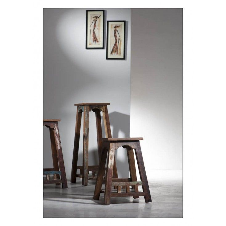Rustic Vintage School stool reproduction design with reclaimed boat wood, SIT tested with 5 year guarantee for business, High quality from heavy duty wood U.K