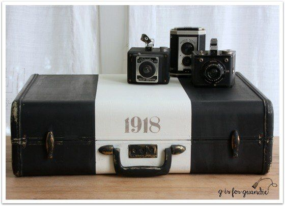 Chalk Painted Vintage Suitcases.