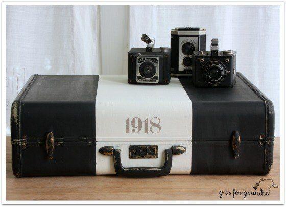 Chalk Painted Vintage Suitcases.